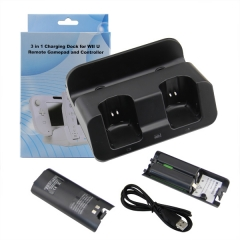 2 in1 Dual Controller Charging Station With 2800mAh Battery Set for WII Remote & WII U Gamepad - Black