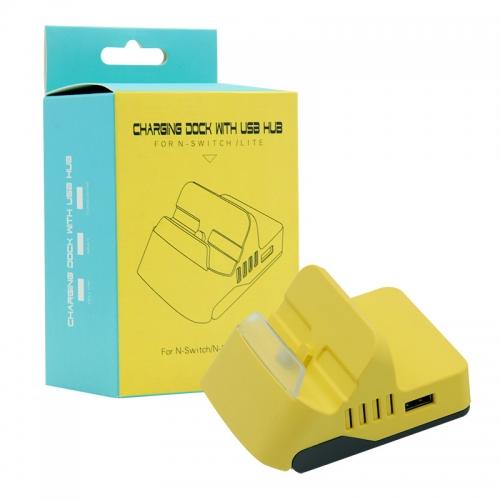 Charging dock With 4 usb HUB for N-Switch /LITE Yellow Color