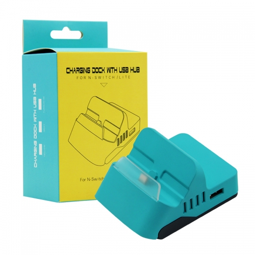 Charging dock With 4 USB HUB for N-Switch /LITE Turquoise Color