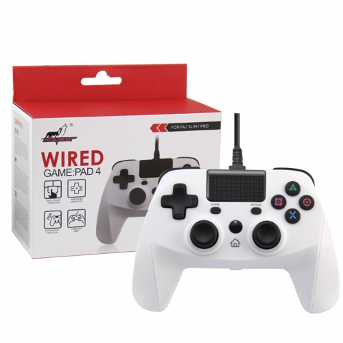 PS4/PS3/PC Wired Controller with Sensor Function White Color